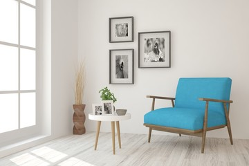 White room with armchair. Scandinavian interior design. 3D illustration