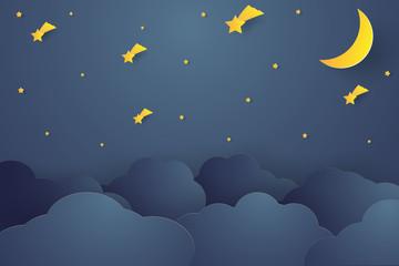 Night sky , paper art style