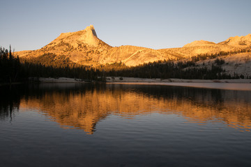 Poster Reflexion Alpine Glow on Cathedral Peak reflected in the water of Lower Cathedral Lake in Yosemite National Park