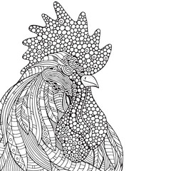 Hand-drawn rooster. in zentangle style.