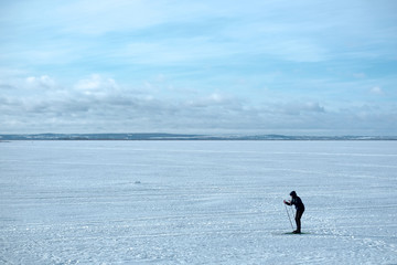 Skier Running On Lake