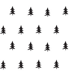 Seamless pattern with hand-drawn Christmas trees.