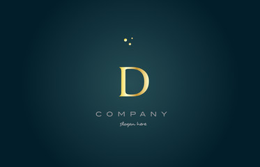 d gold golden luxury alphabet letter logo icon template
