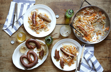 Chicken sausage and kraut with beer and soft pretzels