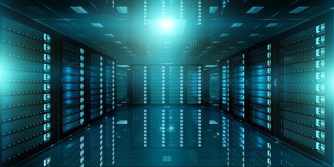 Dark server room data center storage 3D rendering