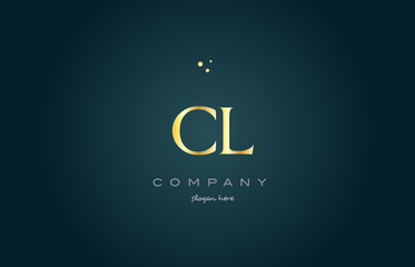 cl c l  gold golden luxury alphabet letter logo icon template