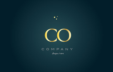 co c o  gold golden luxury alphabet letter logo icon template