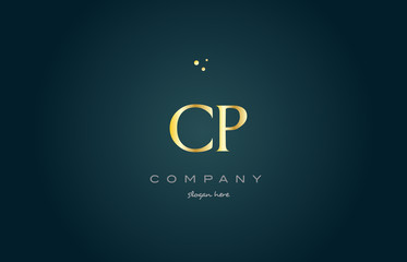 cp c p  gold golden luxury alphabet letter logo icon template