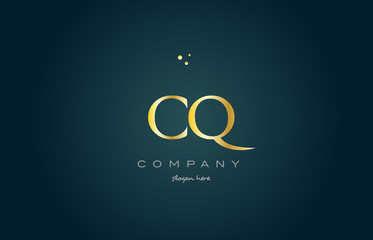 cq c q  gold golden luxury alphabet letter logo icon template