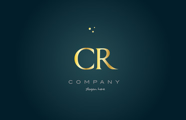 cr c r  gold golden luxury alphabet letter logo icon template