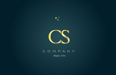 cs c s  gold golden luxury alphabet letter logo icon template