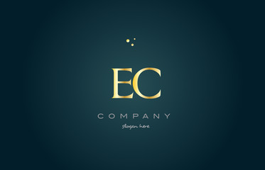 ec e c  gold golden luxury alphabet letter logo icon template