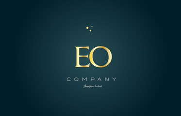 eo e o  gold golden luxury alphabet letter logo icon template