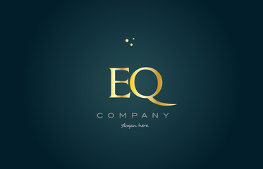 eq e q  gold golden luxury alphabet letter logo icon template