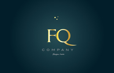 fq f q  gold golden luxury alphabet letter logo icon template