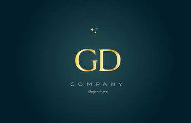 gd g d  gold golden luxury alphabet letter logo icon template