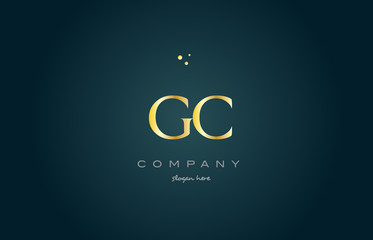 gc g c  gold golden luxury alphabet letter logo icon template