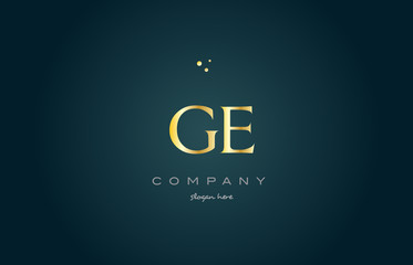ge g e  gold golden luxury alphabet letter logo icon template