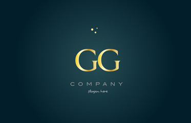 gg g g  gold golden luxury alphabet letter logo icon template
