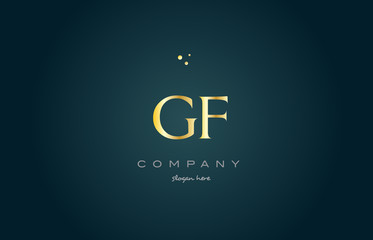 gf g f  gold golden luxury alphabet letter logo icon template