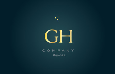 gh g h  gold golden luxury alphabet letter logo icon template