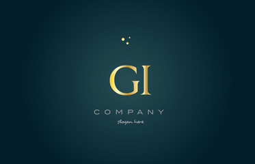 gi g i  gold golden luxury alphabet letter logo icon template