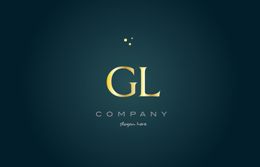 gl g l  gold golden luxury alphabet letter logo icon template