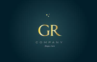gr g r  gold golden luxury alphabet letter logo icon template