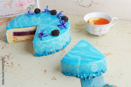modern trendy mousse cake with blue marble mirror glaze. Black Bedroom Furniture Sets. Home Design Ideas