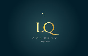 lq l q  gold golden luxury alphabet letter logo icon template