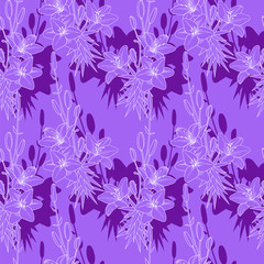 Seamless vector floral pattern texture with lilies on purple background