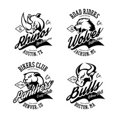 Vintage American furious bull, wolf, panther, rhino bikers club tee print vector design. 