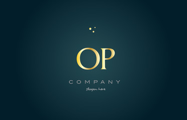 op o p  gold golden luxury alphabet letter logo icon template