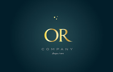 or o r  gold golden luxury alphabet letter logo icon template