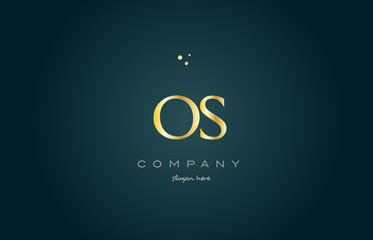 os o s  gold golden luxury alphabet letter logo icon template