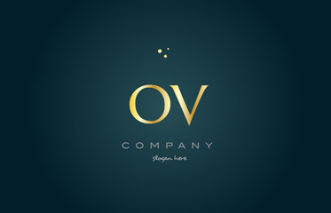 ov o v  gold golden luxury alphabet letter logo icon template