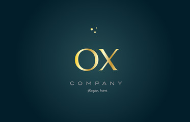ox o x  gold golden luxury alphabet letter logo icon template