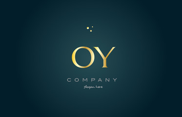 oy o y  gold golden luxury alphabet letter logo icon template