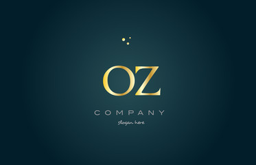 oz o z  gold golden luxury alphabet letter logo icon template
