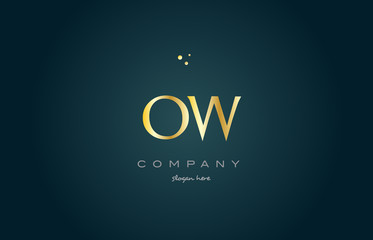 ow o w  gold golden luxury alphabet letter logo icon template