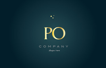 po p o  gold golden luxury alphabet letter logo icon template