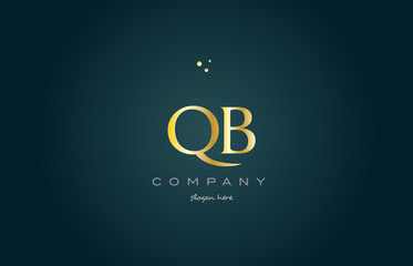 qb q b  gold golden luxury alphabet letter logo icon template