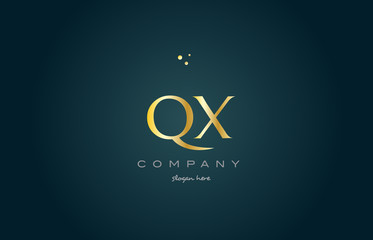 qx q x  gold golden luxury alphabet letter logo icon template