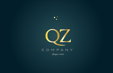 qz q z  gold golden luxury alphabet letter logo icon template