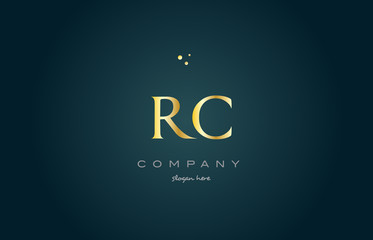 rc r c  gold golden luxury alphabet letter logo icon template
