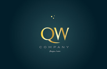 qw q w  gold golden luxury alphabet letter logo icon template