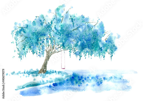 Weeping Willow On The Lake And Swing Blue Tree Watercolor Hand Drawn Ilration