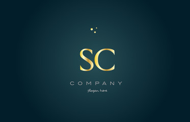 sc s c  gold golden luxury alphabet letter logo icon template