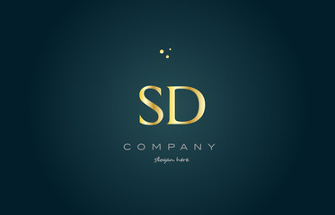 sd s d  gold golden luxury alphabet letter logo icon template