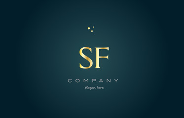 sf s f  gold golden luxury alphabet letter logo icon template